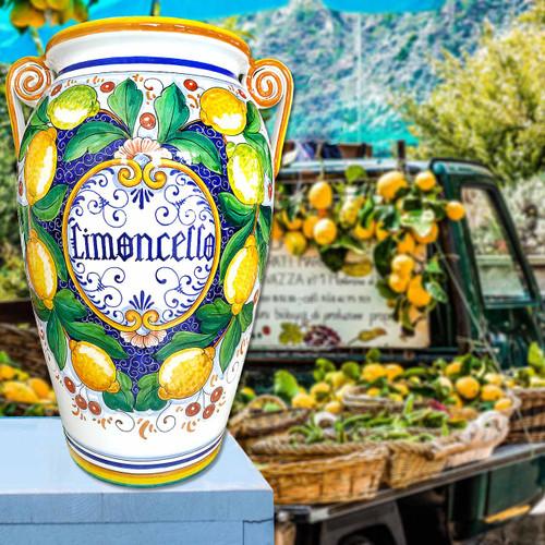 Limoncello vase of Italian Ceramic-Maioliche Originali Deruta