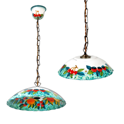 Italian pottery chandelier handpainted in Deruta
