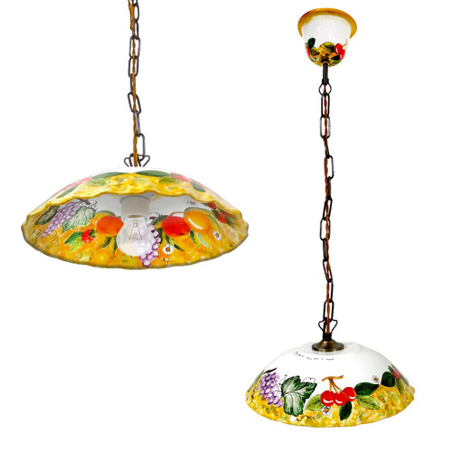 Italian ceramic chandelier handpainted in Deruta-Maioliche Originali Deruta