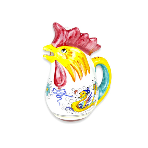 Rooster pitcher of ceramic with raffaellesco decoration