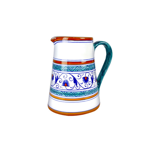 Pottery pitcher handpainted penny decoration