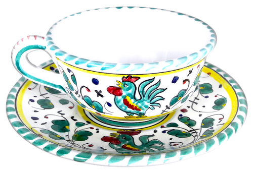 Ceramic Tea cup galletto verde hand painted