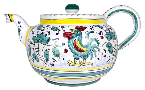 Pottery Tea Pot hand painted galletto