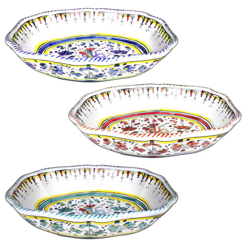 Italian ceramic serving bowl with galletto decoration