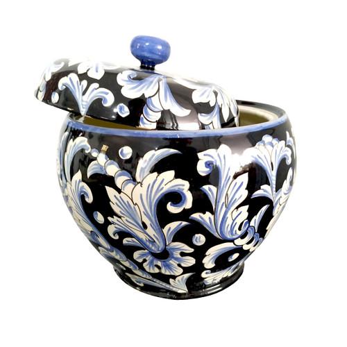 Italian Pottery Jar Black Leaves