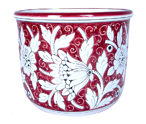 Cachepot hand painted by hand with a floreal red decoration