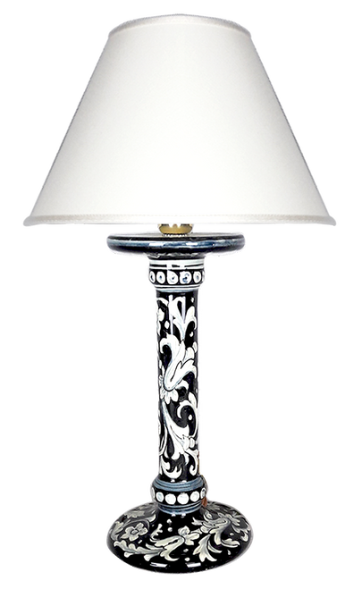 Ceramic decorative lamp black background handpainted