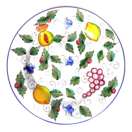Dinner Plate of Italian ceramic with a light decoration handmade.
