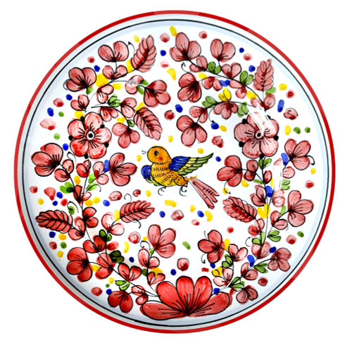 Deruta ceramic dinner plate arabesco rosso