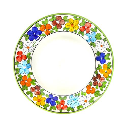 Ceramic daisy pasta soup plate deruta