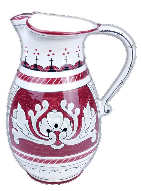 One-litre jug in Italian Deruta ceramic. The decoration recalls the motifs of the '600.