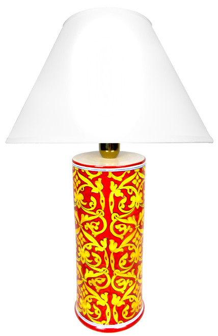 Damasco Lamp red background (Lampshade not included)