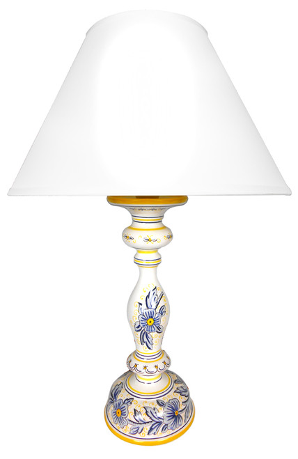 Yellow and blue flowers lamp (Lampshade not included)