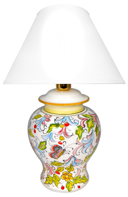 Ceramics Lamp hand painted  in Deruta with flowers and butterfly