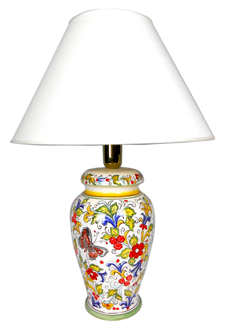 Hand painted lamp with butterfly decoration