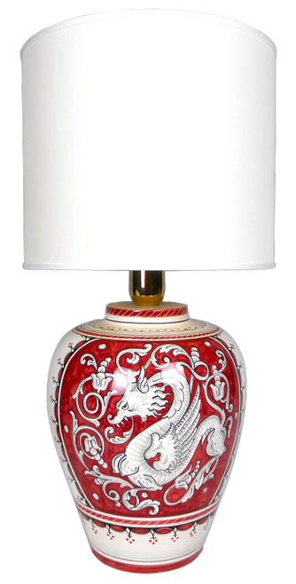Raffaellesco deruta lamp with red background