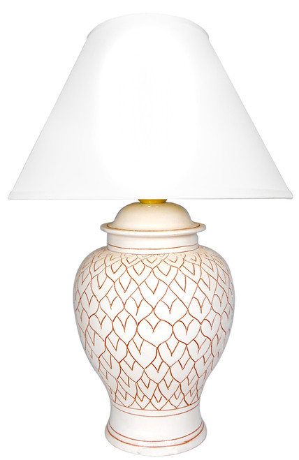 Deruta ceramics lamp handmade. White decoration of italian ceramic lamp