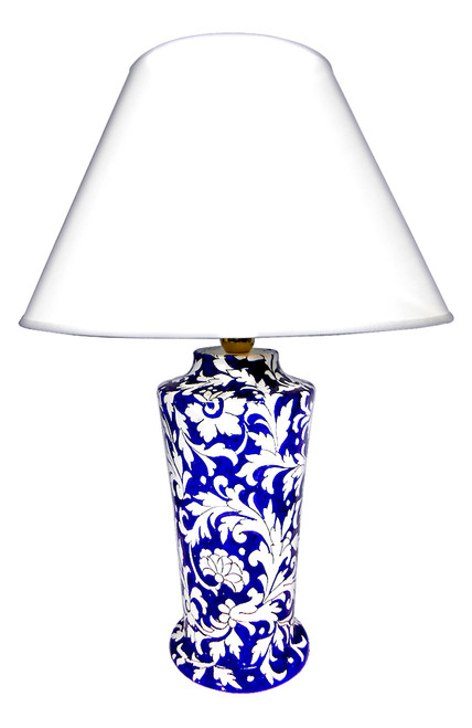 Pottery lamp flowers blue background  (Lampshade is not included)