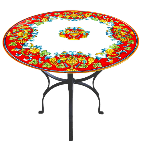 Italian Deruta Tables Garden red