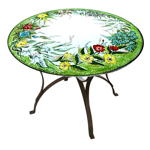 Pottery Italy table for garden with flowers