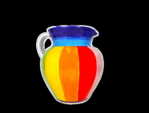 Pitcher in ceramic handmade by MOD-Deruta with Rainbow decoration.