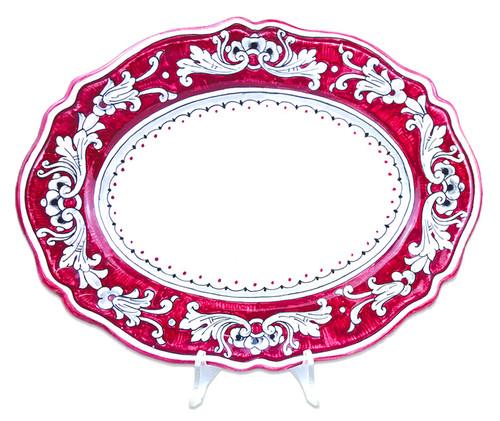 Italian deruta pottery tray with '600 fondo rosso decoration