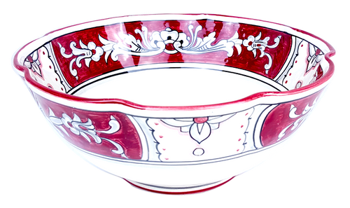 Scallopped Serving bowl '600 Fondo Rosso