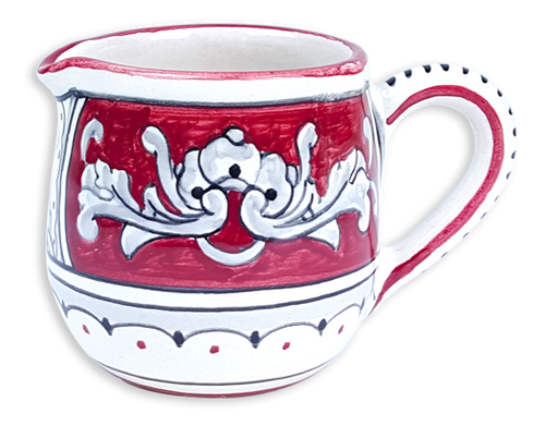 Creamer in an elegant traditional Renaissance model - hand painted at the MOD in Deruta