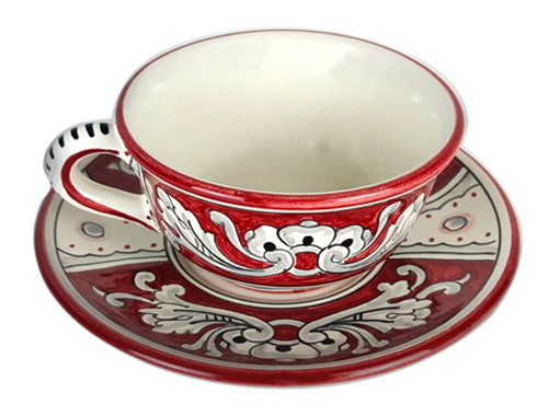 Tea cup with '600 fondo rosso decoration painted in Deruta