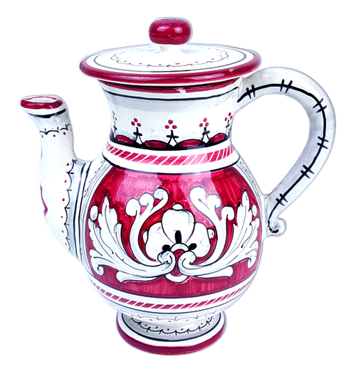 Hand painted ceramic teapot with '600 background red