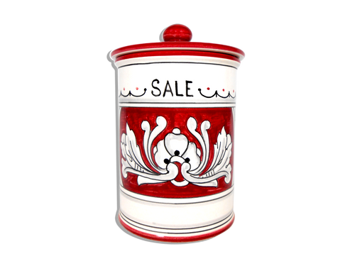 italian hand-painted pottery jar of salt with decoration of 1600