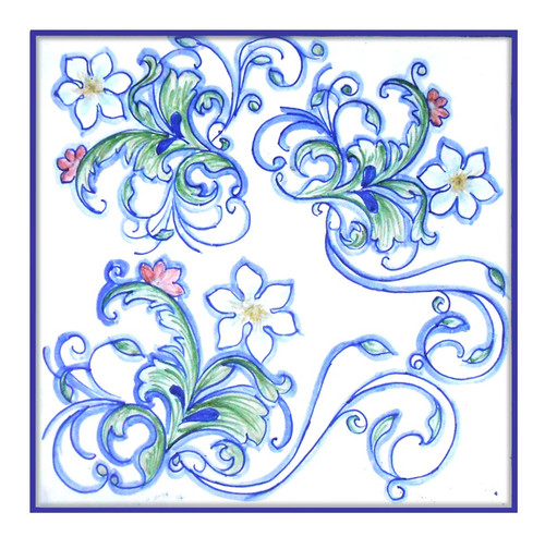 Fiori Blu Tile 7,8 x 7,8 Inches