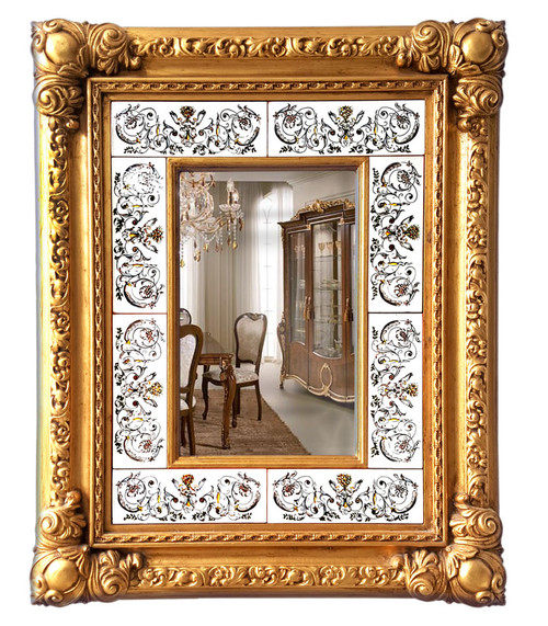 Deruta ceramics mirror with grottesche