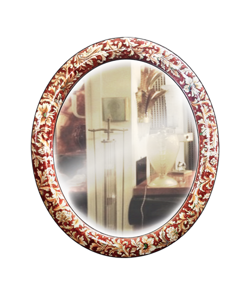 Ceramic mirror with a floreal decoration