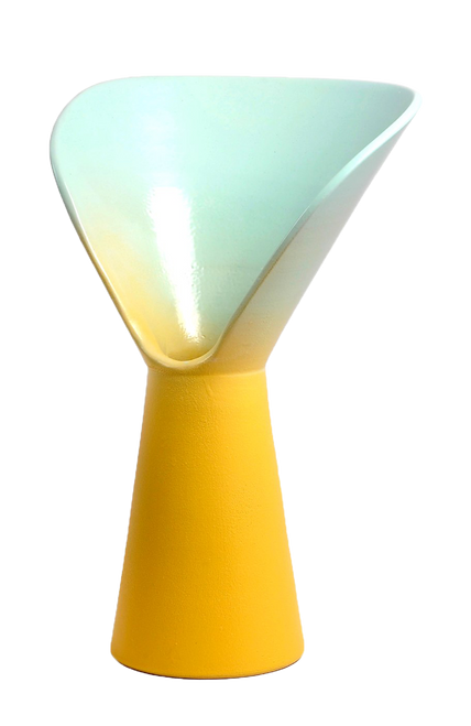 Vase of Design born from an idea by Luca Binaglia. Product with a contemporary look worked entirely by hand according to the principles of the ancient ceramic tradition of the MOD company in Deruta. The vase includes shades of light blue and yellow.
