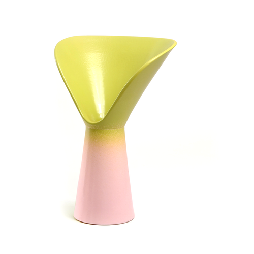 Vase of Design born from an idea by Luca Binaglia. Product with a contemporary look worked entirely by hand according to the principles of the ancient ceramic tradition of the MOD company in Deruta. The vase includes shades of light Green and Light Pink.