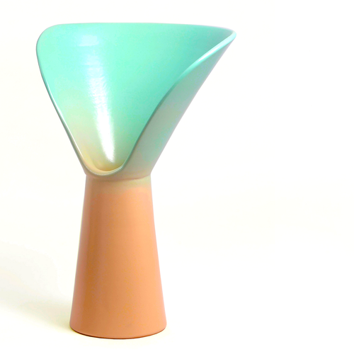 Vase of Design born from an idea by Luca Binaglia. Product with a contemporary look worked entirely by hand according to the principles of the ancient ceramic tradition of the MOD company in Deruta. The vase includes shades of Light Pink and Light Blue