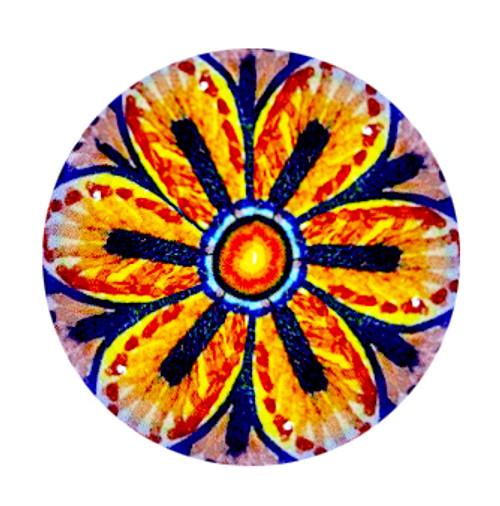 Italian deruta pottery knob orange, yellow and blu color