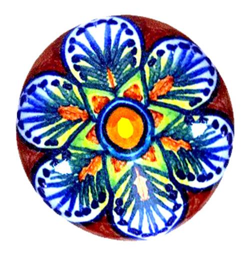 Ceramic italy knob brown,blu, orange, yellow