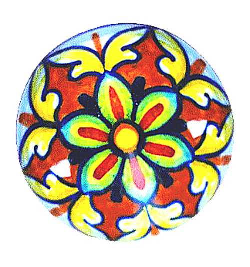 Italian ceramic knob orange, yellow, blue color