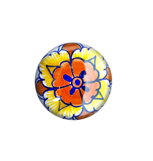 Orange and yellow knob with refinement blue. Handpainted in deruta italy by mod ceramics