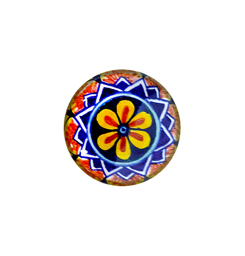 Ceramic italy knob blu, orange, yellow