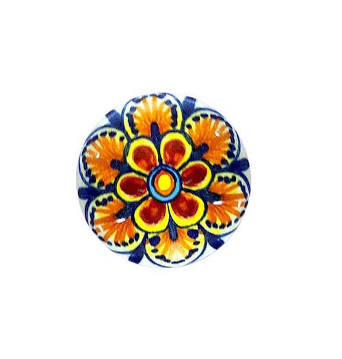 Ceramic knob light brown, yellow, orange, blue. Pottery italy store
