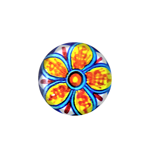 Ceramic italy knob orange, yellow, light blue, blu, red.