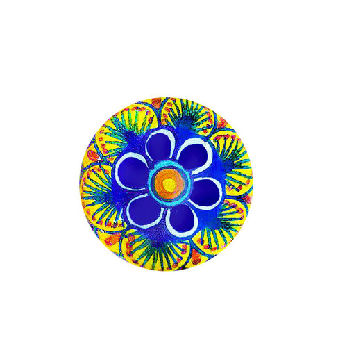 Pottery italy knobs blu, yellow,orange, green. Handpainted by mod ceramics