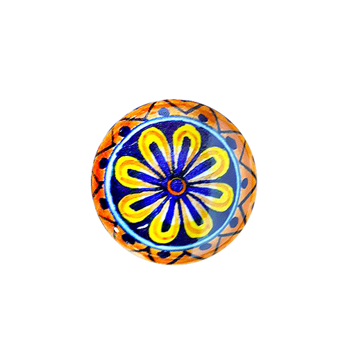 hand painted ceramic knobs daisy yellow and blue