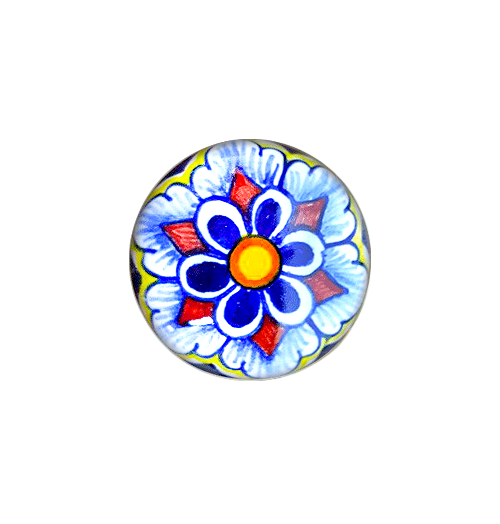 taly pottery knob blue, yellow orange, light blue