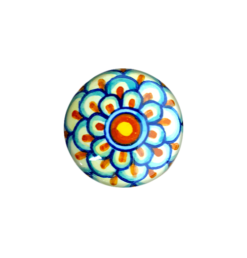 Italian ceramics knob yellow,orange,light blue