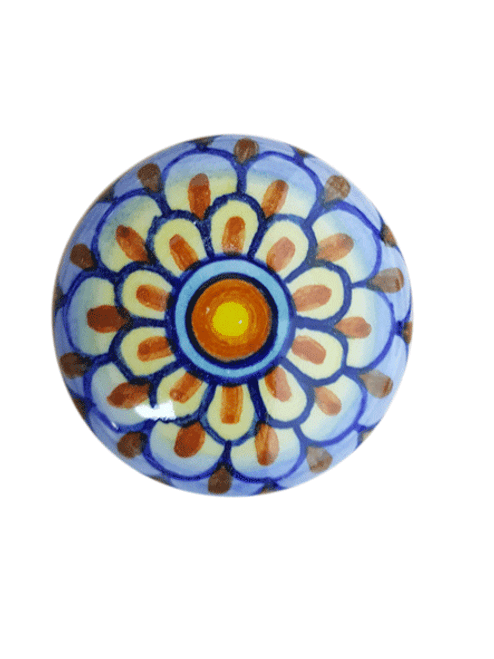 Ceramic knobs and pulls handpainted orange, yellow, light blue