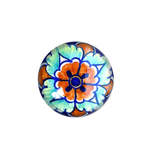 Italian ceramics knob orange, blu, light blue